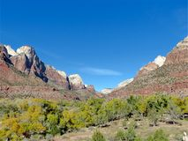 Mountain Peaks and the Valley in Zion National Park Utah Stock Photography