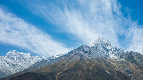 Mountain Peaks. A view of rugged mountain peaks covered in snow royalty free stock images