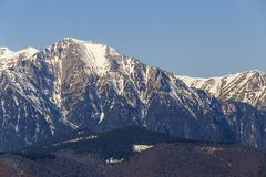 Mountain peaks during winter stock image