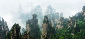 Mountain Peaks in Zhangjiajie China Royalty Free Stock Photo