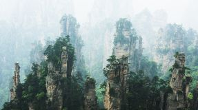 Mountain Peaks in Zhangjiajie China Stock Photo