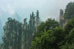 Mountain Peaks in Zhangjiajie China Stock Photo