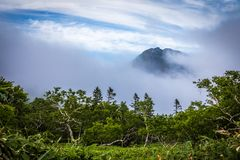 Mountain Peek, Lake Rausu Trail stock images