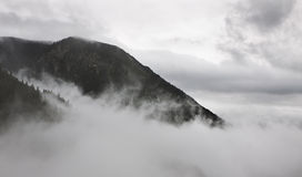 Mountain pick in fog Stock Photography