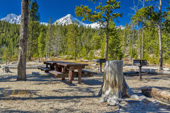 Mountain picnic area with tables and forest Stock Images