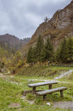 Mountain picnic table stock photography