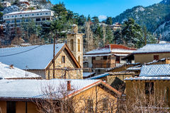 Mountain picturesque village of Kakopetria in a snowy day. Nicos. Ia District, Cyprus Royalty Free Stock Images
