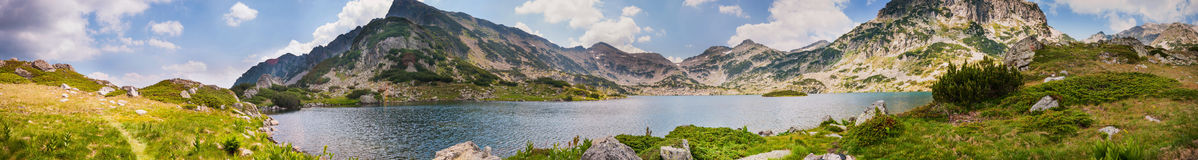 Mountain Pirin Lake Panorama Stock Photos