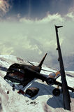 Mountain plane crash. Fragment of a passengers plane crushed in mountains Stock Images
