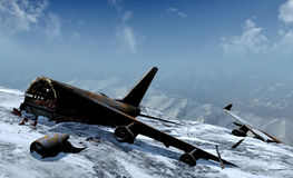 Mountain plane crash. Fragment of a passengers plane crushed in mountains Stock Image