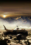 Mountain plane crash. Fragments of a passengers plane crushed in mountains. Two survivors are leaving the place after having buried several corpses Royalty Free Stock Photos
