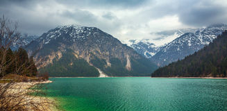 Mountain Plansee lake in the austrian alps Stock Photos