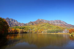 Mountain and pond in autumn Royalty Free Stock Photos