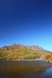 Mountain and pond in autumn Stock Photos