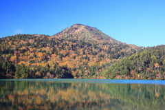 Mountain and pond in autumn Royalty Free Stock Images