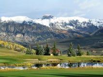 Mountain, Pond, Trees, Snow, Green Royalty Free Stock Photos