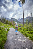 Mountain porter carrying heavy food supply to one of mountain huts. High Tatra Mountains, Slovakia - June 15, 2017: Mountain porter carrying heavy food supply Stock Photography