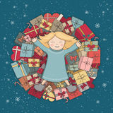 Mountain presents. The child received a gift. Christmas illustration. Vector greeting card Stock Photo
