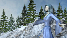 Mountain Princess Elf in Waving Blue Dress Royalty Free Stock Images