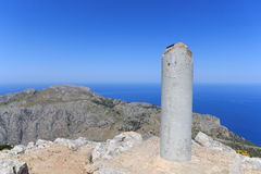 Mountain Puig de Galatzo summit in Majorca Tramuntana with Mediterranean Sea Stock Images