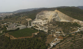 Mountain quarry aerial view Stock Photo