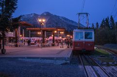 Mountain rack-tramway in Tatry mountains. Mountain rack-tramway before descent into the valley on a cold summer evening on the station Strbske pleso in Tatry stock photography