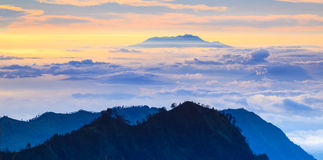Mountain rage at sunrise, East Java, Indonesia Stock Images