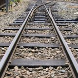 Mountain Railroad Tracks Junction Royalty Free Stock Photos