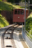 Mountain Railway. A Mountain Railway above a city in Northern Europe stock photo
