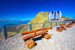 Mountain railway line with panorama restaurant in the Italian speaking canton of Ticino, in south-east Switzerland stock photo