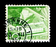 Mountain Railway at Rocher de Naye, Landscapes and technics serie, circa 1949. MOSCOW, RUSSIA - MAY 15, 2018: A stamp printed in Switzerland shows Mountain stock photos