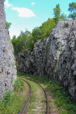 Mountain railway in Romania. A part of the old railway from Oravita to Anina, Romania's oldest and most spectacular mountain railway route, found in Caras stock images