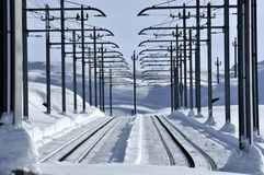 Mountain railway in snow Royalty Free Stock Images