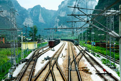 Mountain railway station landscape Royalty Free Stock Photo