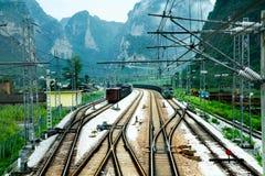 Mountain railway station landscape Royalty Free Stock Photo