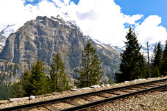 Mountain Railway, Swiss Alps Royalty Free Stock Images