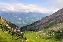 Mountain railway in a valley, Switzerland Royalty Free Stock Photo