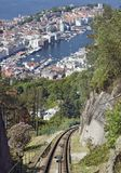 Mountain railway view. In Bergen Norway Royalty Free Stock Image