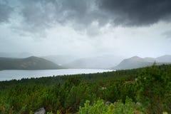 The mountain rain. Rain in the mountain and Jack London lake Royalty Free Stock Photography