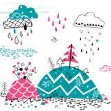Mountain rain illustration stock illustration