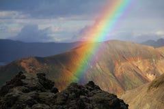 Mountain Rainbow. Beautiful rainbow in Landmannalaugar, Iceland Royalty Free Stock Images