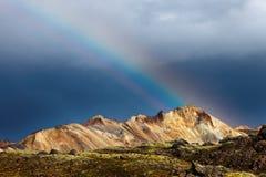 Mountain rainbow in Landmannalaugar Iceland Royalty Free Stock Photography