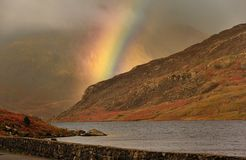 Mountain rainbow, Snowdonia, Wales stock photography