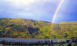 Mountain with rambow blue background Co. Sligo. Ireland Royalty Free Stock Images