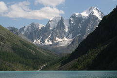 Mountain Range. With glacier and lake Royalty Free Stock Photos