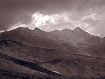 Mountain range. In black and white stock image