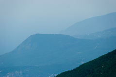 Mountain range. Silhouette in Crimea, Ukraine Royalty Free Stock Images