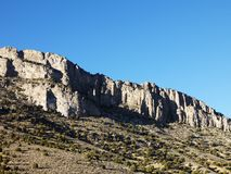 Mountain range against blue sky. Royalty Free Stock Photography