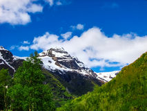 Mountain range around Briksdal Glacier, Norway. Royalty Free Stock Image