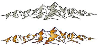 Mountain range. A mountain range background with peaks and valleys royalty free illustration